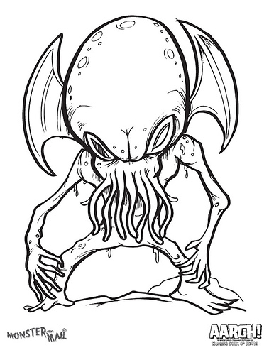 Cthulhu ctholouring book raincoaster for Cthulhu coloring pages