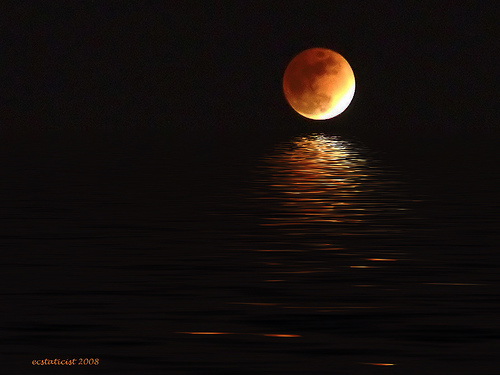 Eclipsed moon off Victoria