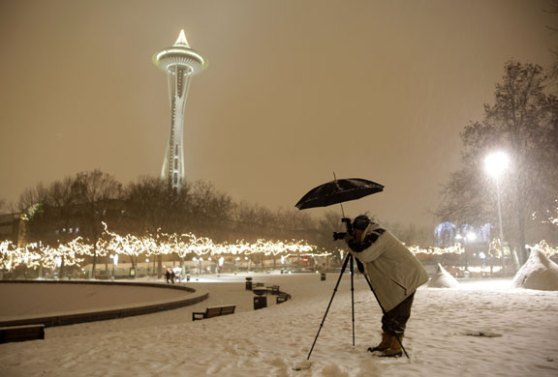 Space Needle Seattle in Snow