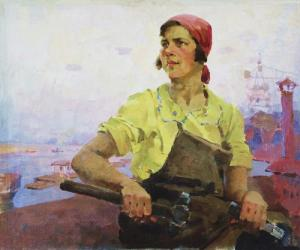 "Pyotr Kotov. A Female Shock-Worker of the ""Red Sormov"" Works. 1936"