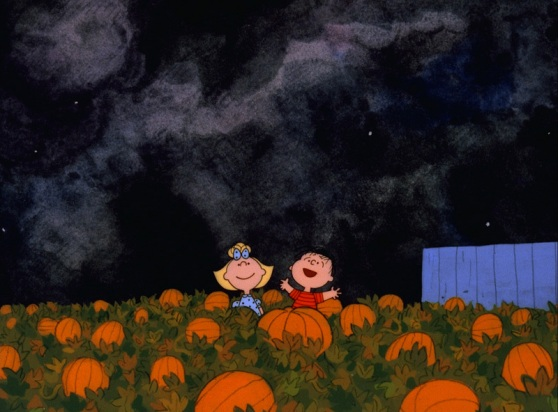 Linus and Sally await the Great Pumpkin