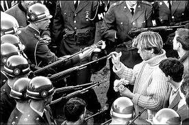 Hippie demonstrates flower power