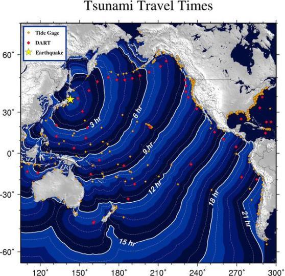 Japan Earthquake tsunami travel times