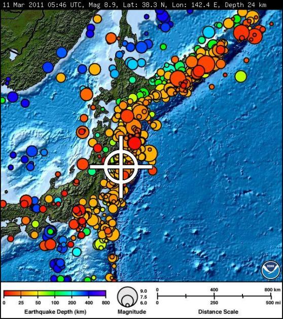 Japanese Earthquake Map to March 12th