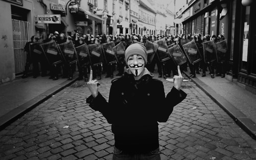 Anonymous vs the Police which is not exactly a new thing