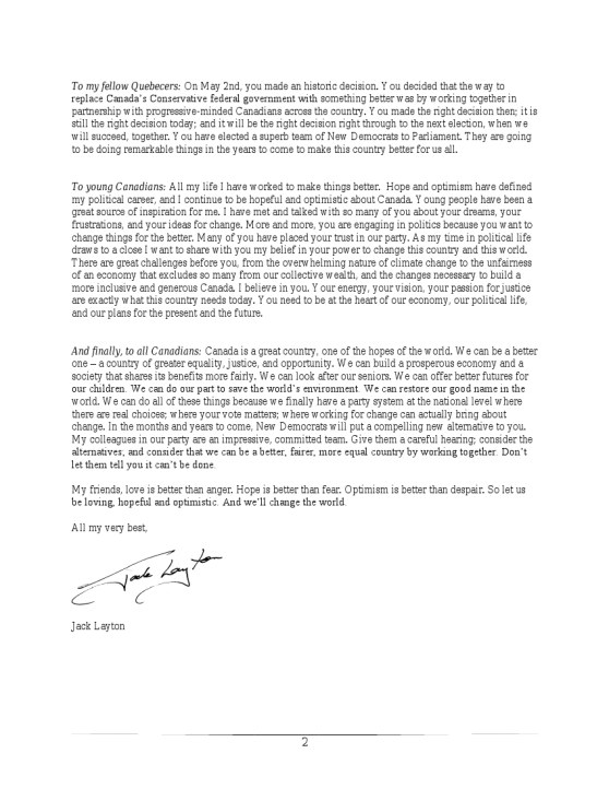 Jack Layton's Letter 2