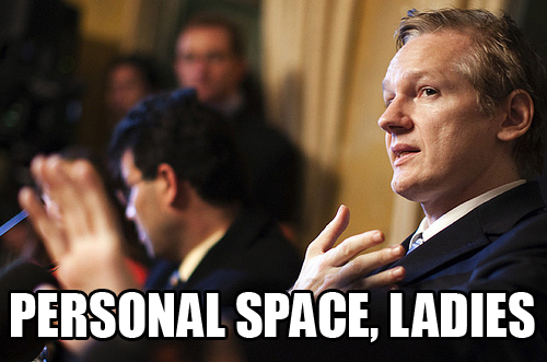julian assange needs his personal space. About nine inches of it in fact