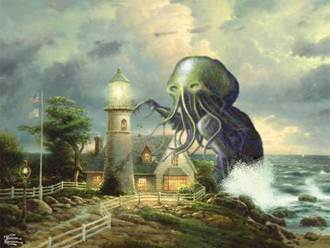 Cthulhu vs Thomas Kinkade