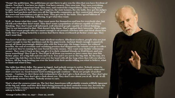 George Carlin on Politicians. Reminds me of the joke Second cousins twice removed, once forcibly