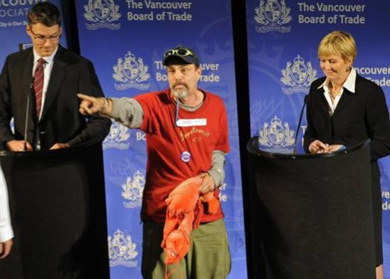 Lobster Man Darrell Zimmerman Busts up the Mayoral Debate