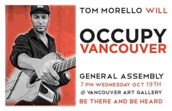 Tom Morello wil Occupy Vancouver
