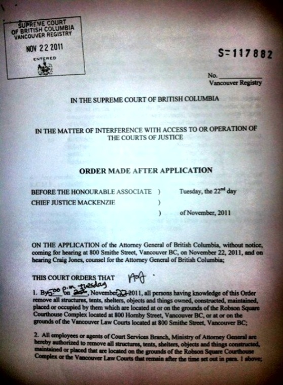 Occupy Vancouver Injunction Provincial