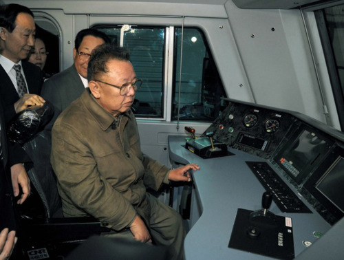 Kim Jong Il learns to pull a train