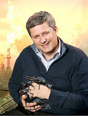 Prime Minister Stephen Harper Sez Welcome to Canada's beautiful tar sands