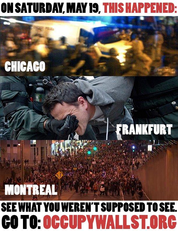 Chicago Frankfurt Montreal protests