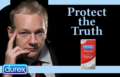 Julian Assange protect the truth condom line