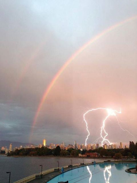 Double rainbow lighting WHAT DOES IT MEAN Vancouver shot by Ted Mogan