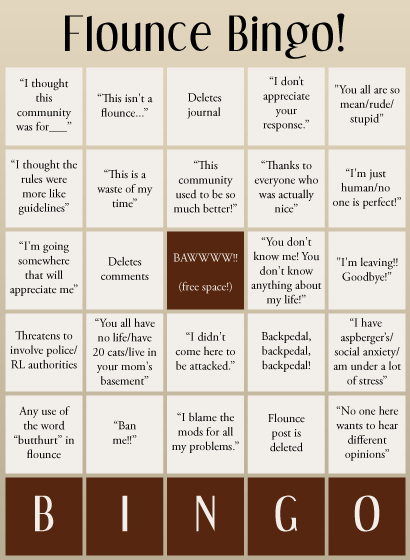 Flounce Bingo, the national game of the Internet