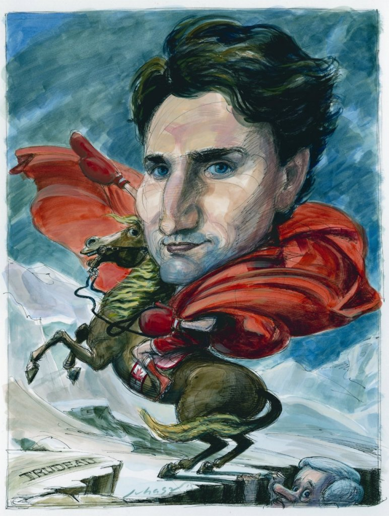 Justin Trudeau as Napoleon, from (where else) the National Post